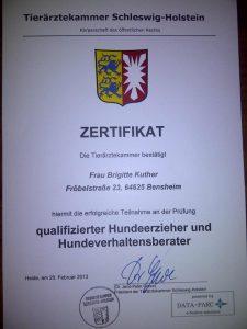 Zertifikat Tierärztekammer